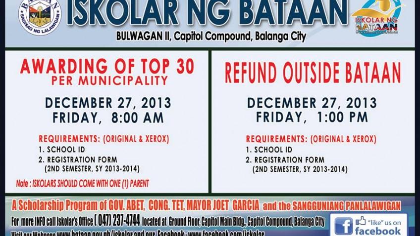 Awarding of Top 30 Per Municipality & Refund Outside Bataan