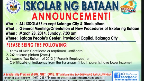 General Meeting/Orientation of New Procedures of Iskolar ng Bataan