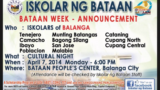 Bataan Week – Announcement – Iskolars of Balanga