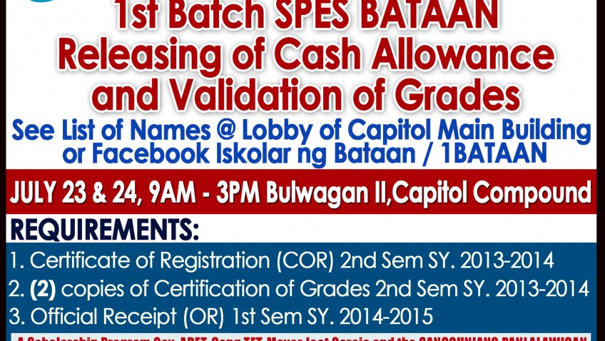 1st Batch SPES BATAAN Releasing of Cash Allowance and Validation of Grades