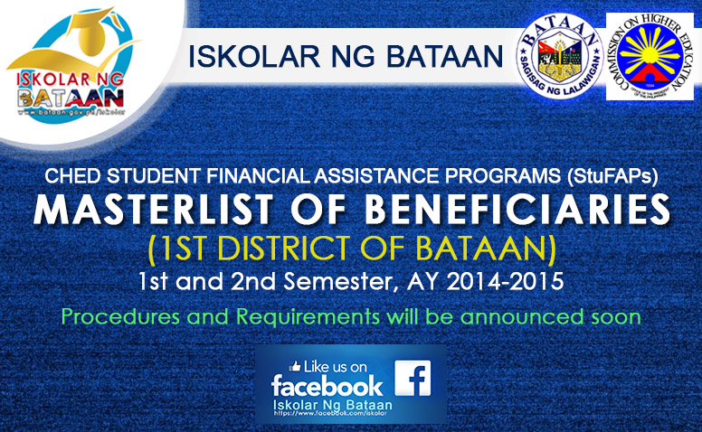 CHED STUDENT FINANCIAL ASSISTANCE PROGRAMS: MASTERLIST OF BENEFICIARIES (1ST DISTRICT OF BATAAN)