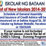 LIST OF NEW BATCH OF ISKOLAR NG BATAAN S.Y. 2014-2015