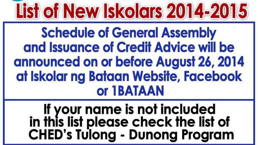 LIST OF NEW BATCH OF ISKOLAR NG BATAAN S.Y. 2014-2015