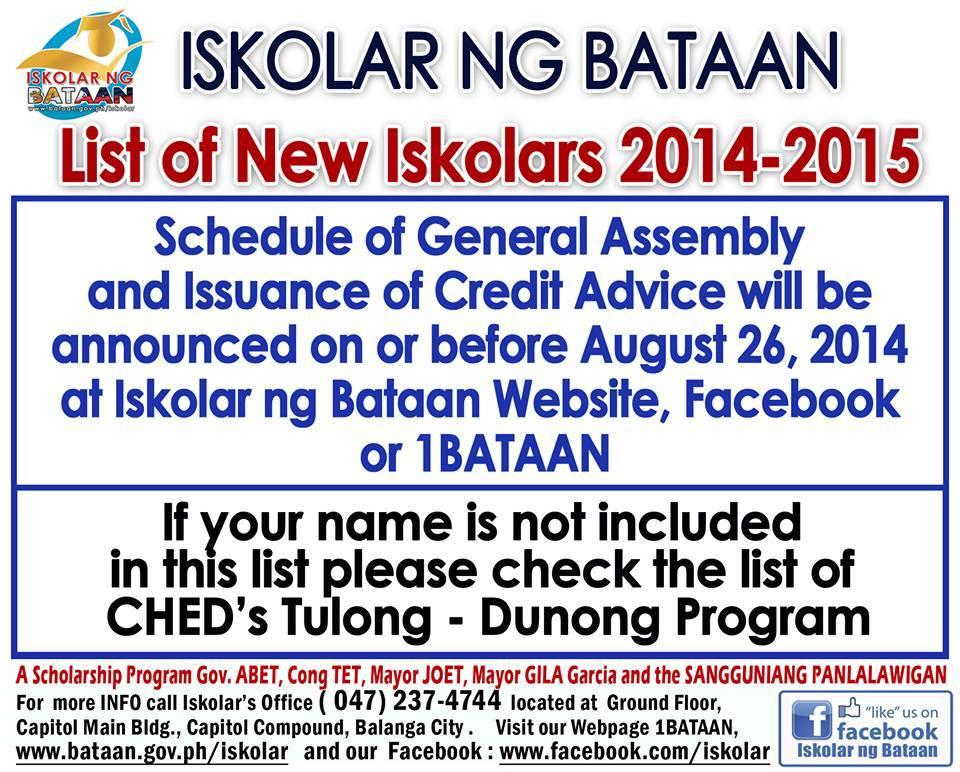 list of new iskolar 2014-2015