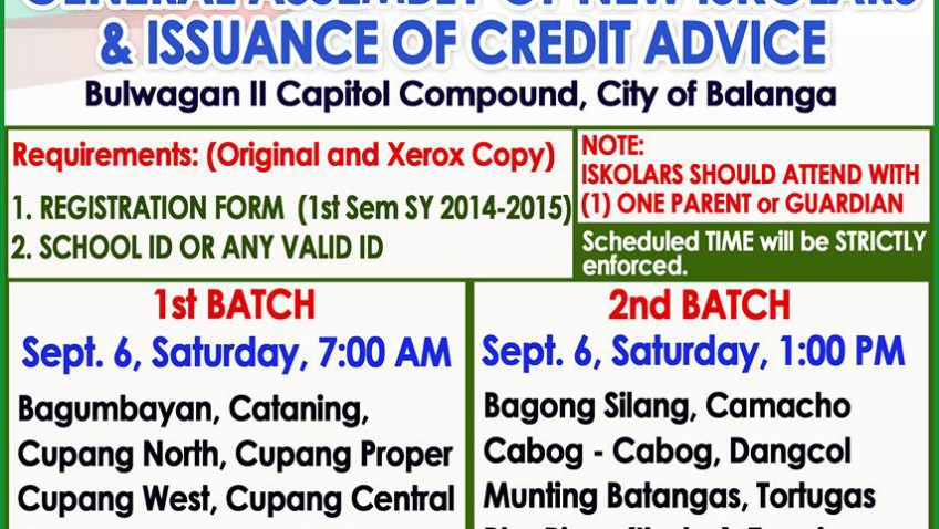 Balanga City – General Assembly of New Iskolars & Issuance of Credit Advice