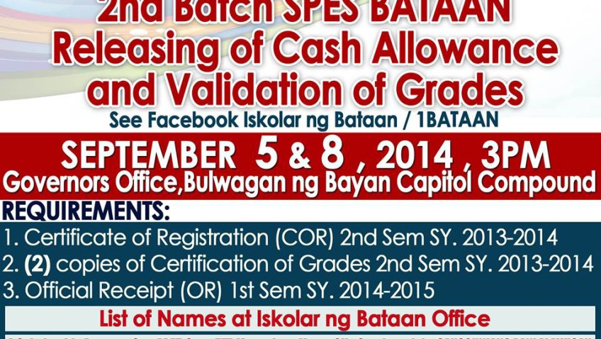 2nd Batch SPES BATAAN Releasing of Cash Allowance and Validation of Grades
