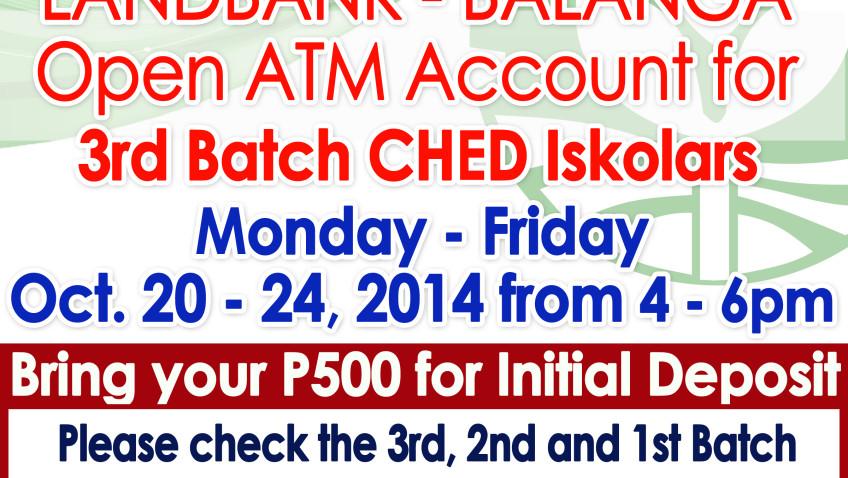 LANDBANK BALANGA – OPEN ATM ACCOUNT FOR 3RD BATCH CHED ISKOLARS
