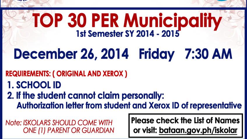 List of TOP 30 PER MUNICIPALITY 1st Semester SY 2014 – 15 December 26, 2014 7:30 AM