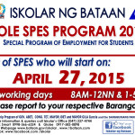 DOLE SPES BATAAN 2015 – List of SPES who will start on April 27, 2015 (Office Assignments are available)