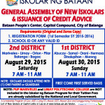 NEW BATCH OF ISKOLAR NG BATAAN SY 2015 – 2016