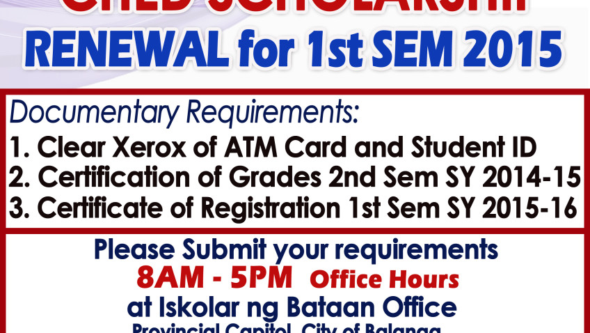 CHED SCHOLARSHIP : RENEWAL FOR 1ST Semester 2015 (Except BPSU Ched Scholars)