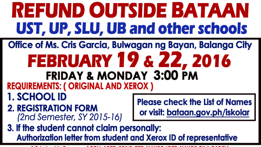 UP, UST , SLU, UB & other school CASH REFUND