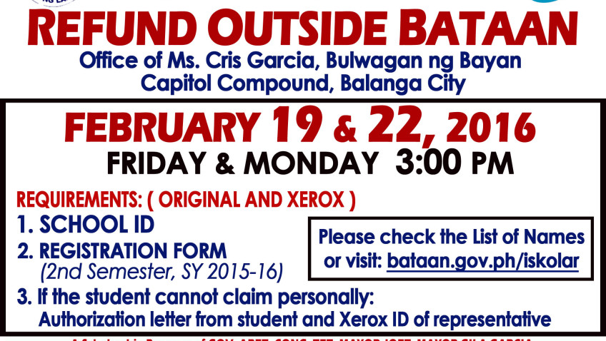 OUTSIDE BATAAN & TOP 30 Re-Payroll Cash Refund