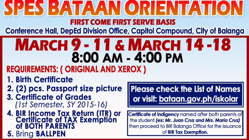 LIST OF SPES BATAAN 2016