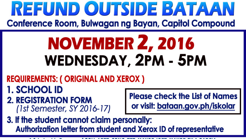 OUTSIDE BATAAN CASH REFUND 1st Semester SY 2016-2017