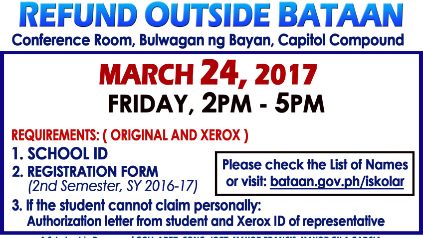 OUTSIDE BATAAN CASH REFUND 2nd Semester SY 2016-2017