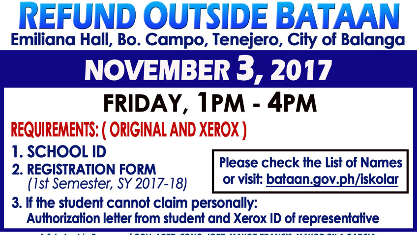 List of Outside Bataan Cash Refund 2017