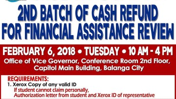 CASH REFUND FOR FINANCIAL ASSISTANCE REVIEW (2ND BATCH).