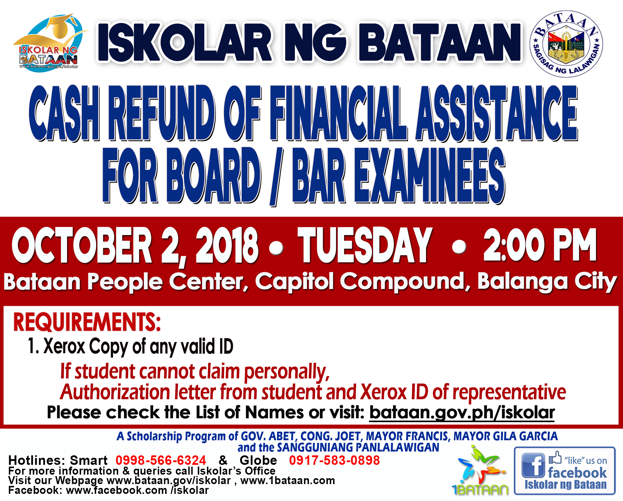Cash Refund of Financial Assistance for Board / Bar Examinees